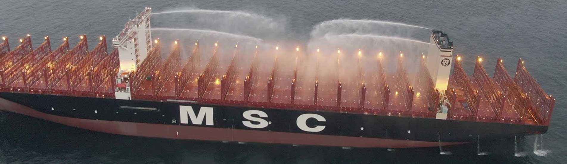 The MSC Gülsün class vessels use the world's first on-deck firefighting monitors - fixed water cannons to slow and stop the spread of fire by cooling, which have a reach of more than 100 metres.