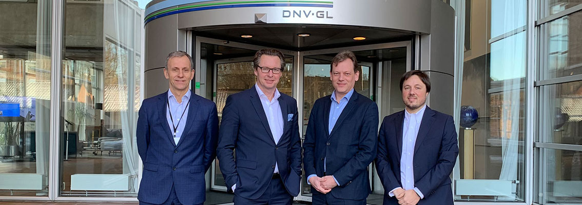 DNV GL and Wärtsilä signed a MoU to accelerate maritime digitalization. From left to right: Jon Rysst, Senior Vice President, DNV GL; Knut Ørbeck-Nilssen, CEO Maritime, DNV GL; Roger Holm, President, Wärtsilä Marine, and Andrea Morgante, Vice President Strategy and Business Development at Wärtsilä, at the DNV GL headquarters in Høvik, Norway.